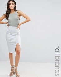 Missguided Tall Thigh Split Suede Look Midi Skirt Grey