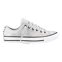 Converse Chuck Taylor All Star Ox Leather Hardware Trainers Silver White