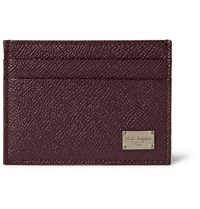 Dolce And Gabbana Pebble Grain Leather Cardholder Burgundy