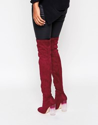 Truffle Collection Over The Knee Boot With Clear Heel Berry Mf Red