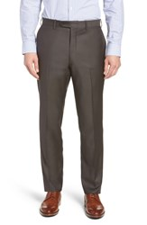 John W. Nordstrom Big And Tall Torino Traditional Fit Flat Front Solid Trousers Dark Taupe