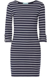 Melissa Odabash Maddie Striped Ribbed Stretch Jersey Mini Dress Midnight Blue