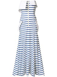 Natasha Zinko Striped Jersey Bandeau Gown White