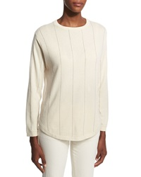 Brunello Cucinelli Striped 2 Ply Cashmere Sweater Cream Ivory
