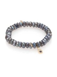 Sydney Evan Diamond Blue Sapphire Labradorite And 14K Yellow Gold Beaded Teardrop Evil Eye Bracelet Grey
