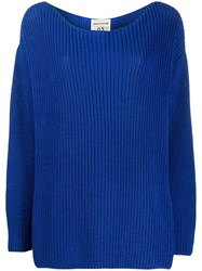 Semicouture Dropped Shoulder Purl Knit Sweater Blue