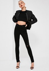 Missguided Black Highwaisted Raw Waistband Skinny Jeans