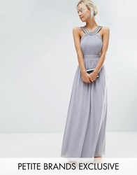 Little Mistress Petite Pleated Maxi Dress With Embellished Neck Gray