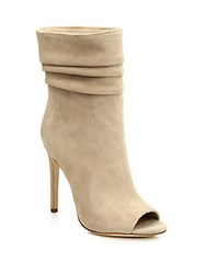 Halston Pleated Suede Stiletto Heel Booties Buff