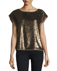 Joie Marania Sequin Embellished Blouse Antique Brass