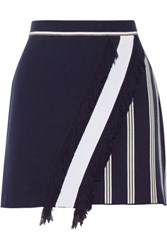 Tanya Taylor Andy Striped Jacquard Knit Skirt Navy