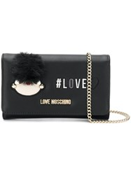 Love Moschino Pompom Detail Wallet On Chain Black