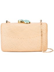 Kayu Chain Strap Woven Clutch Bag Nude And Neutrals