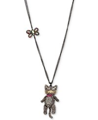 Betsey Johnson Two Tone Multicolor Pave Bow And Cat Pendant Necklace Black
