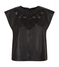 Set Leather Embroidered Top Female Black
