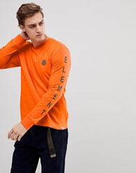 Element Long Sleeve T Shirt With Sleeve Print In Orange