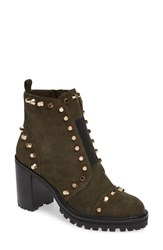 Linea Paolo Honour Studded Bootie Dark Olive Suede