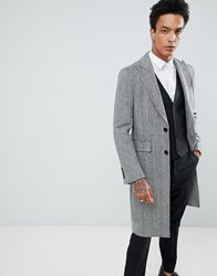 Gianni Feraud Premium Black And White Herringbone Wool Blend Overcoat Black White