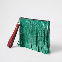 River Island Green Leather Fringe Pouch Clutch Bag