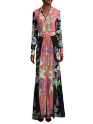 Diane Von Furstenberg Floral Long Silk Shirt Dress Curzon Black Curzon Pink Coral