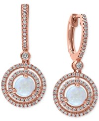 Effy Collection Opal 3 4 Ct. T.W And Diamond 1 2 Ct. T.W Drop Earrings In 14K Rose Gold