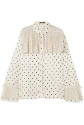 Mother Of Pearl Jasper Pleated Polka Dot Satin Shirt Ivory