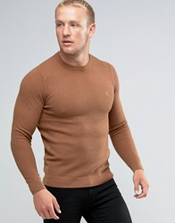 Farah Jumper With Honeycomb Texture In Slim Fit Camel Camel Tan