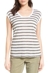 Nordstrom Women's Collection Linen Jersey Tee White Olive Triple Stripe