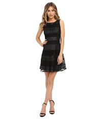 Jessica Simpson Lace Color Block Scuba Dress Black Silver Women's Dress