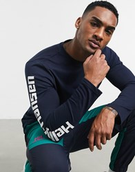 Helly Hansen Long Sleeve T Shirt In Navy With Arm Print