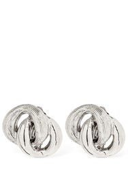 Philippe Audibert Braided Clip On Earrings Silver