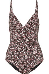 Matteau The Plunge Printed Swimsuit Brown