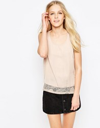 Vila Mella Lace Trim Sleeveless Top In Tan Mella Lace Trim Brown