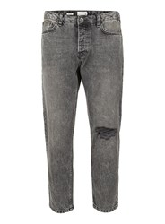 Topman Grey Acid Wash Ripped Tapered Fit Jeans