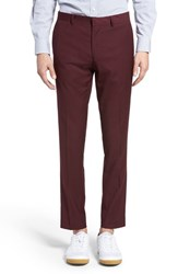 Topman Men's Burgundy Slim Fit Suit Trousers