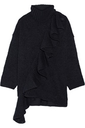 3.1 Phillip Lim Knitted Wool Blend Coat Blue