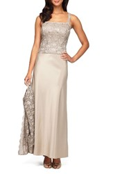 Alex Evenings Women's Sequin Lace And Satin Gown With Jacket Champagne