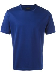 Z Zegna Plain T Shirt Blue