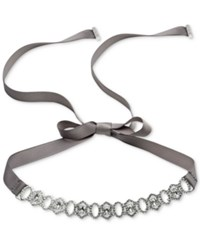 Carolee Silver Tone Crystal And Pave Ribbon Choker Necklace White