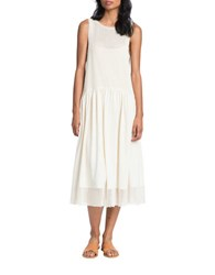 Plenty By Tracy Reese Cotton Mesh Combo Drop Waist Midi Dress Cream