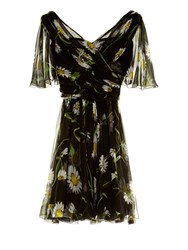 Dolce And Gabbana Margherite Daisy Print Short Sleeve Chiffon Dress