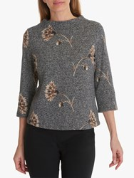 Betty Barclay Faux Tweed Embroidered Top Charcoal Multi