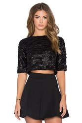 Lucy Paris Sequin Crop Tee Black