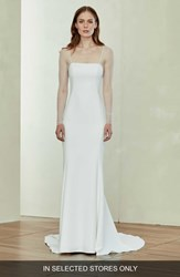 Amsale Illusion Sleeve Crepe Trumpet Gown Ivory