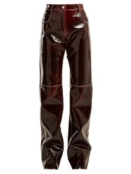 Msgm Relaxed Crinkle Effect Vinyl Trousers Burgundy