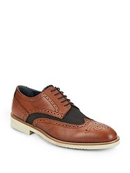 Massimo Matteo Leather And Canvas Wingtip Oxfords Brown