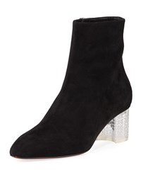 Alaia Suede Ankle Boots With Plexi Heel Black