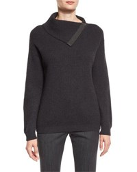 Brunello Cucinelli Ribbed Cashmere Folded Sweater Anthracite