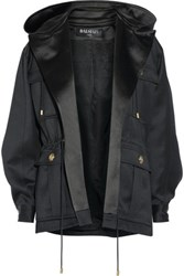 Balmain Hooded Wool Gabardine Jacket Black