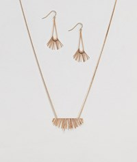 Ny Lon Nylon Necklace And Earring Gift Set With Fan Detail Gold